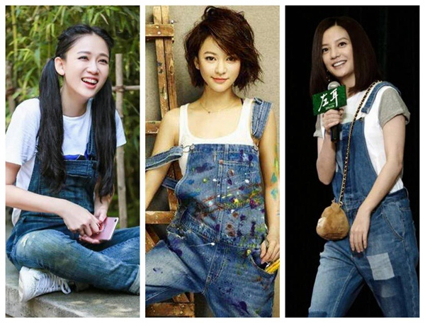 中韓 미녀 스타들의 어려 보이는 멜빵바지 코디법! 김지원 현아 장백지 자오웨이…